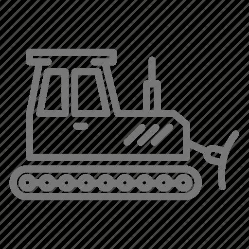 bulldozer, construction, loader, push, site icon