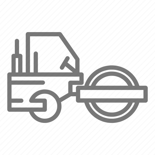 construction, drive, pavement, road, roller, site icon