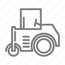 construction, pavement, road, roller, site, steam icon