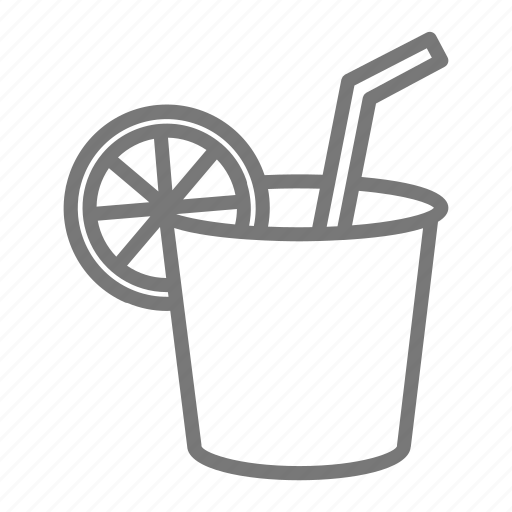cup, drink, lemonade, paper, stand, straw icon