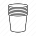 cup, drink, paper, plastic, stack, to go icon
