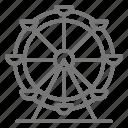 amusement, boardwalk, fair, ferris wheel, ride icon