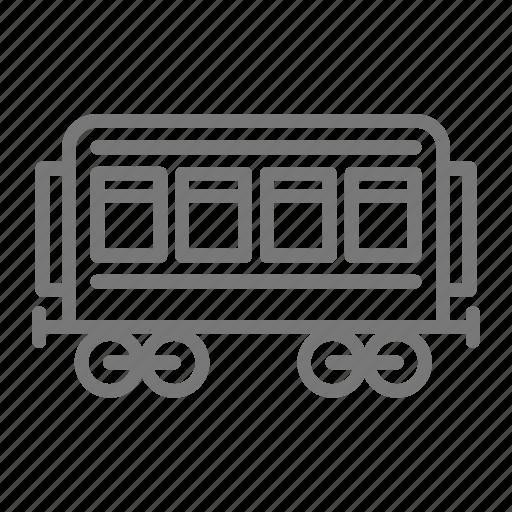 distance, passenger, railroad, train, trolley, wheels, windows icon