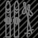 mountain, poles, resort, skis, snow icon