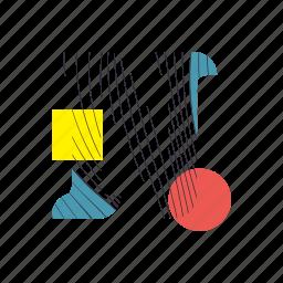 alphabet, font, geometry, line, n, text, typography icon