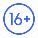 age, limit, plus, restriction icon