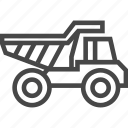 dirt, dumping, haul truck, load, mining, transport, truck icon
