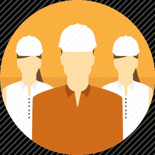 avatar, construction, group, hard hat, mining, people icon