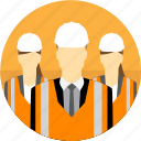avatar, construction, group, hard hat, high visibility vest, managers, mining icon