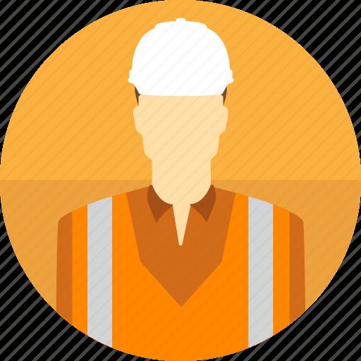 avatar, construction, hard hat, high visibility vest, man, mining icon