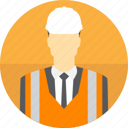avatar, construction, hard hat, high visibility vest, man, manager, mining icon