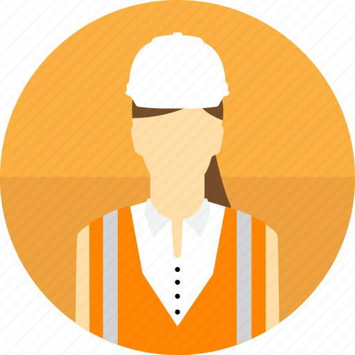 avatar, construction, hard hat, high visibility vest, mining, woman icon