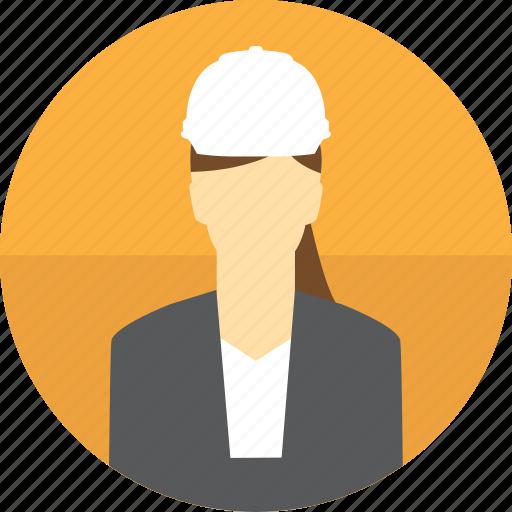 avatar, construction, hard hat, manger, mining, woman icon