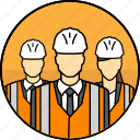 mining, managers, high visibility vest, construction, avatar, hard hat, group