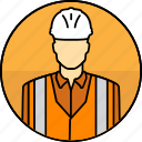avatar, construction, hard hat, high visibility vest, man, mining icon