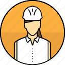 avatar, construction, hard hat, mining, woman icon