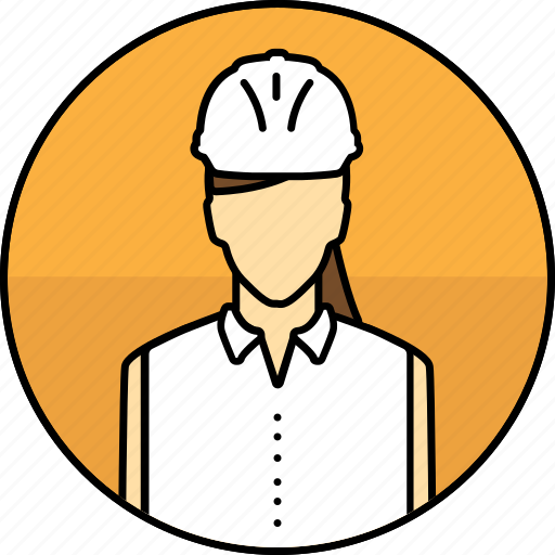 avatar, construction, hard hat, mining, woman icon