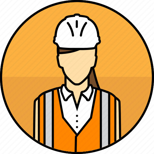 Avatar, construction, hard hat, high visibility vest, mining, woman icon - Download on Iconfinder