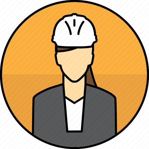 avatar, construction, hard hat, manager, mining, woman icon