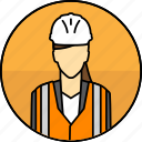 avatar, construction, hard hat, high visibility vest, manager, mining, woman icon