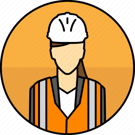 Avatar, construction, hard hat, high visibility vest, manager, mining, woman icon - Download on Iconfinder