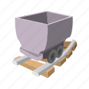 cartoon, coal, delivery, electric, tank, trolley, wagon icon