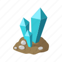 cartoon, crystal, gui, jewel, land, mineral, stone icon