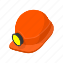 cartoon, flashlight, hat, headpiece, helm, helmet, slam icon