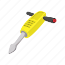cartoon, drill, hammer, jack, jackhammer, tool, worker icon