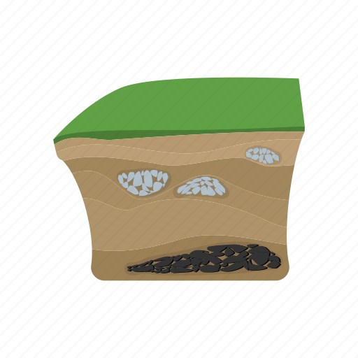 cartoon, earth, ground, layer, rough, soil, surface icon