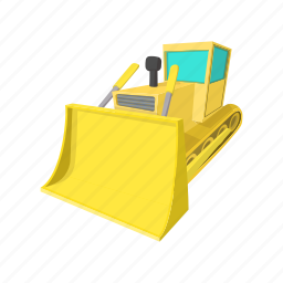 bulldozer, cartoon, equipment, heavy, machinery, transportation, vehicle icon