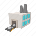 cartoon, generator, iron, line, power, sign, station icon