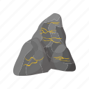 bank, banking, bullion, cartoon, goldmine, ore, stone icon