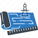 blue, blue prints, document, measurements, prints icon