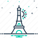 eiffel, europe, france, paris, tower icon