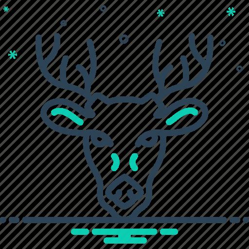 animal, antler, deer, forest, horn, hunting, wildlife icon
