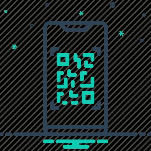 code, qr, scan, scanner, usage, use, utilization icon