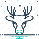 antler, deer, forest, herbivores animal, hunting, mammal, reindeer icon