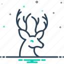antler, deer, forest, herbivores animal, hunting, reindeer, wildlife icon
