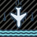 accident, aeroplane, below, beneath, crash, down, underneath