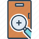analyzing, checking, equipment, finding, research, scrutinize, seek icon