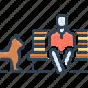 animal, at the same time, bench, besides, dog, garden, near icon