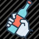 bottle, catch, clasp, drunkard, grip, hold, sop icon
