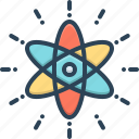chemistry, circle, molecular, nuclear, orbit, particle, react icon