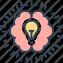 brain, education, intellective, intellectual, lightbulb, mental, psychological icon
