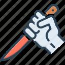 threaten, knife, stab icon