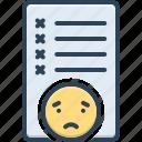 checklist, error, failure, fault, inaccuracy, message, mistake