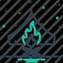 bonfire, campfire, cottage, fire, flame, survival, warmth