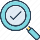 exploration, discovery, solution, found, magnification, magnifying glass, check mark
