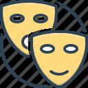 feign, drama, mask, dramatics, pretend, dissemble, profess icon